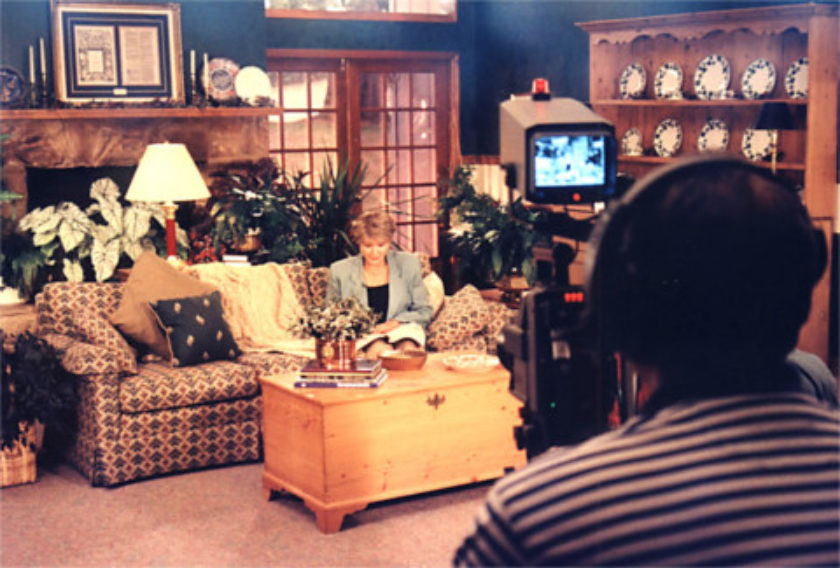 Kay Arthur on the television set of